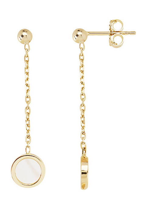 2 ct. t.w. Mother of Pearl Earrings in 14K Yellow Gold