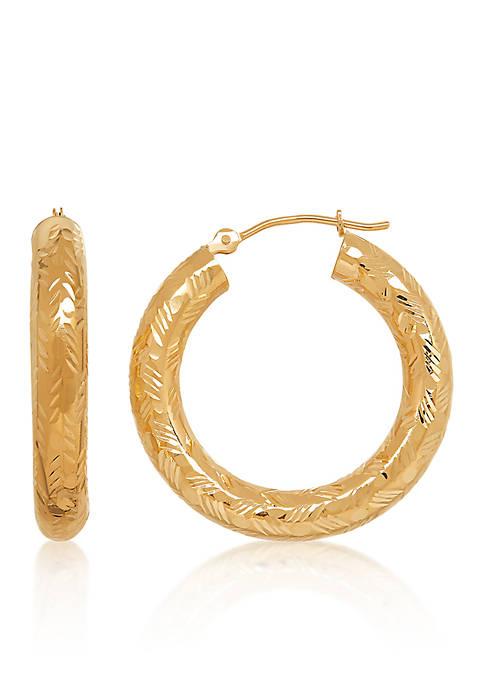Shiny Hoop Earrings in 14k Yellow Gold