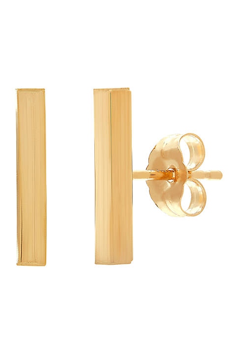 Polished Square Stick Earrings in 14K Gold