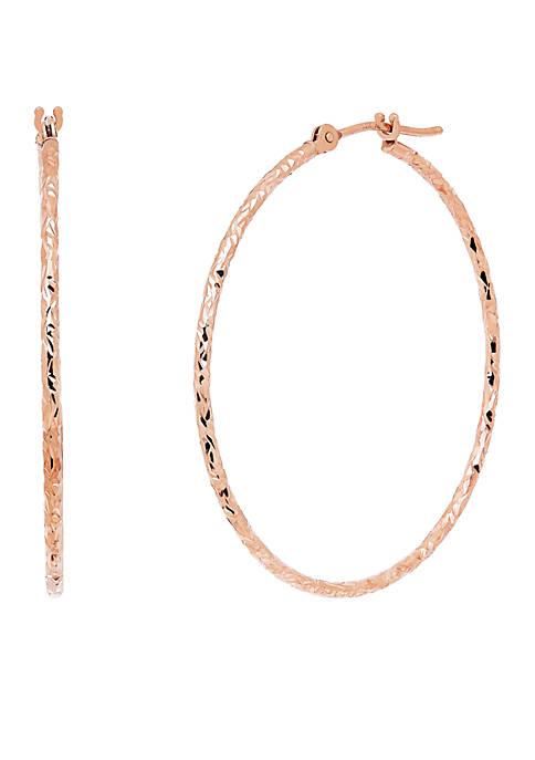 Crystal Cut Round Hoop Earrings in 14K Rose Gold