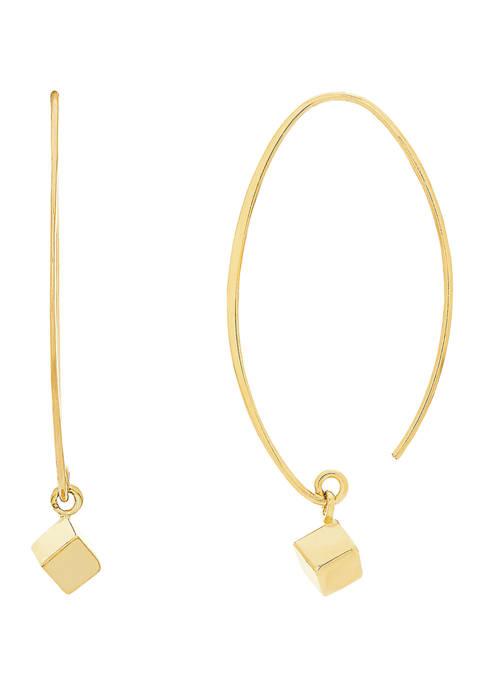 Geometric Square Drop Earrings in 14K Yellow Gold
