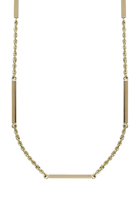 Square Tubing Stations Necklace in 14K Yellow Gold