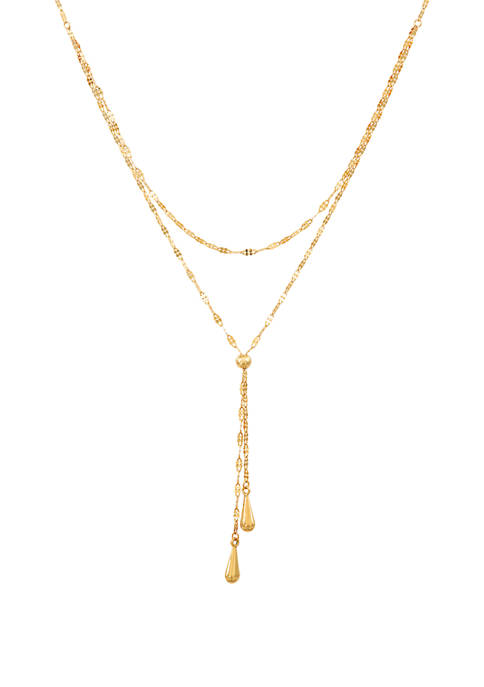 Multi Chain Lariat with Tear End Necklace