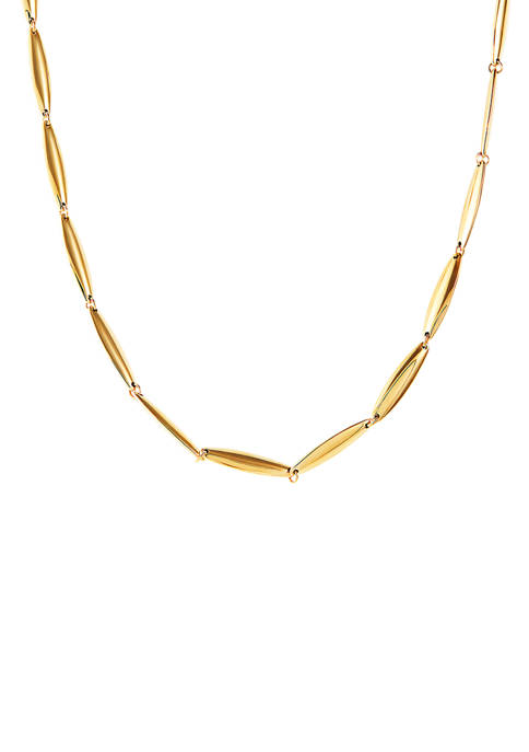 Elongated Plain Link Necklace in 14K Yellow Gold
