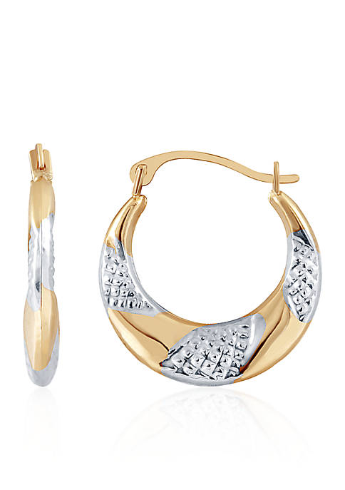 Belk & Co. 14k Yellow Gold Textured Hoop