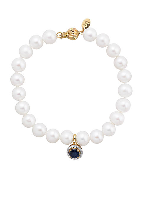 0.07 ct. t.w. Diamond, Sapphire, and Freshwater Pearl Bracelet in 14k Yellow Gold