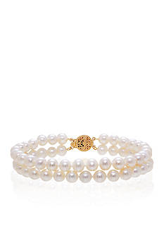 Belk & Co. Two Row Freshwater Pearl Bracelet in 14K Yellow Gold