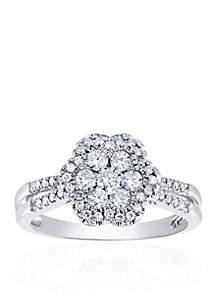 5/8 ct. t.w. Diamond Cluster Flower Ring in 10k White Gold