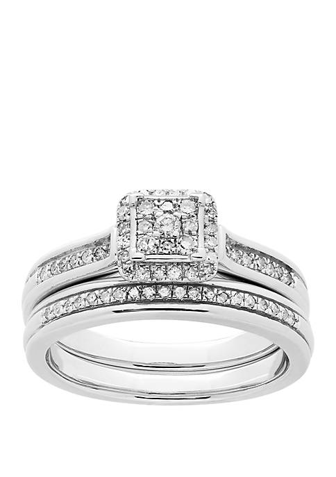 1/3 ct. t.w. Diamond Bridal Ring Set in Sterling Silver