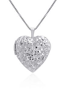 Heart Locket Necklace in Sterling Silver