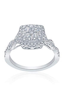 3/4 ct. t.w. Diamond Square Cluster Ring in 14k White Gold