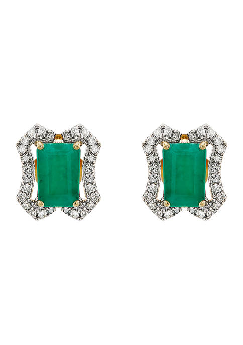 1/6 ct. t.w. Diamond and 1.2 ct. t.w. Emerald Stud Earrings in 14K Yellow Gold