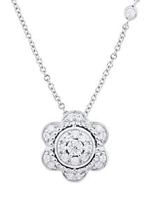 1/6 ct. t.w. Diamond Flower Pendant Necklace in Sterling Silver