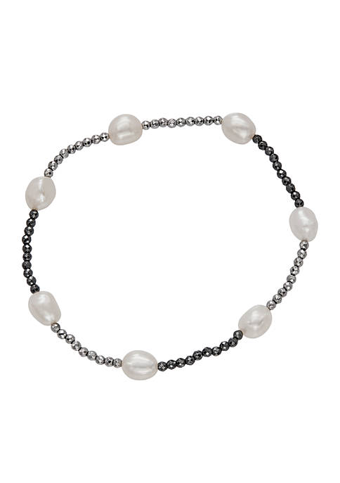 Stretch Freshwater Pearl and Hematite Bracelet