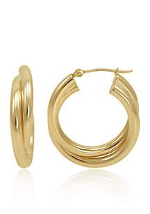 Belk & Co. Hoop Earrings in 10K Yellow Gold