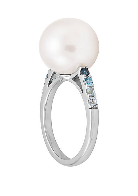 Pearl And 18.13 ct. t.w. Blue Topaz Ring In Sterling Silver
