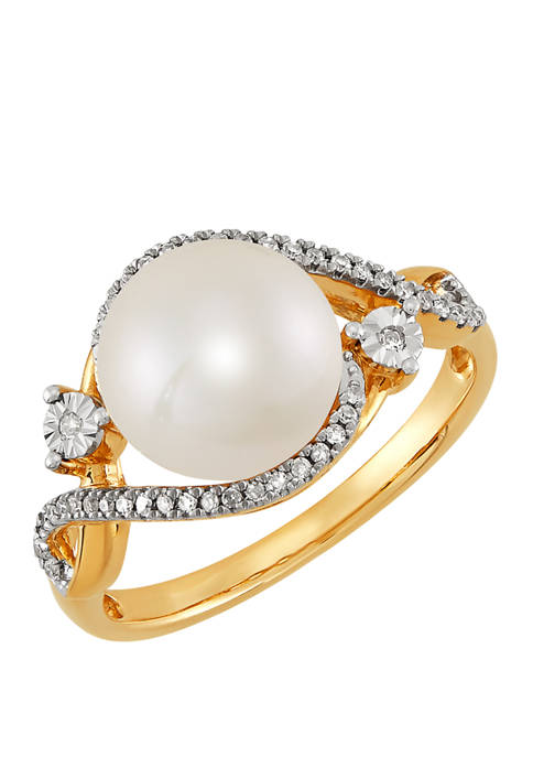 1/10 ct. t.w. Diamond and 4.5 ct. t.w. Freshwater Pearl Ring in 10K Yellow Gold