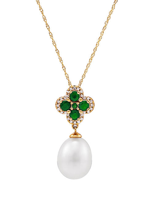 9 ct. Pearl with 0.5 ct. t.w. Emerald and 1/10 ct. t.w. Diamond Pendant Necklace in 10K Yellow Gold