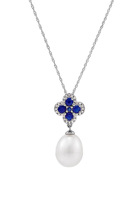 9 ct White Pearl with 0.67 ct. t.w. Sapphires and 1/10 ct. t.w. Diamonds Pendant Necklace in 10K White Gold