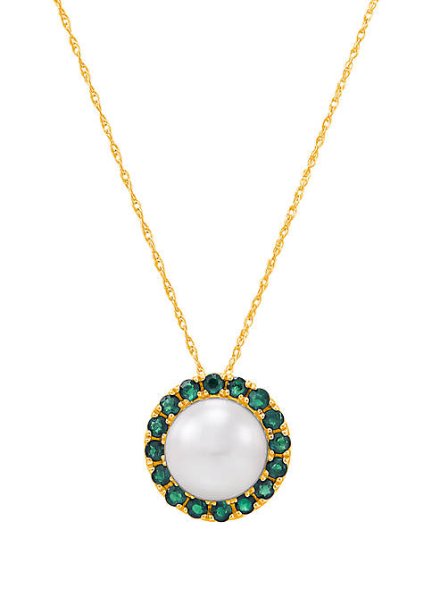 5.75 ct. t.w. Freshwater Pearl with 0.64 ct. t.w. Emerald Pendant Necklace in 10k Yellow Gold