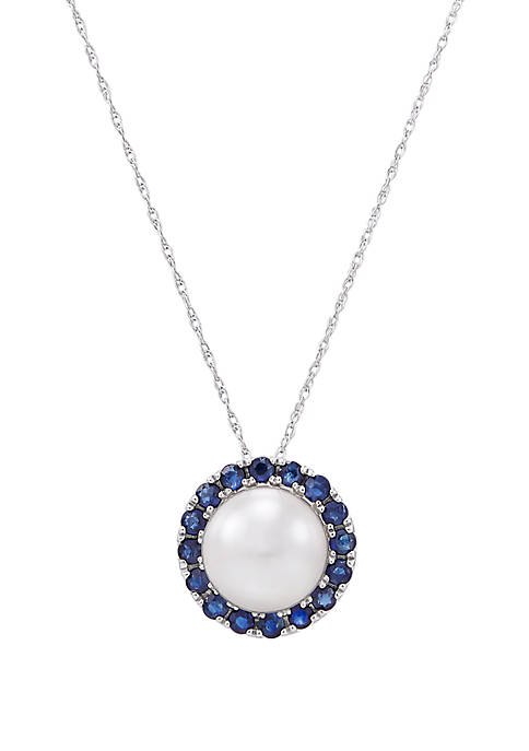 5.75 ct. t.w. White Freshwater Pearl with 0.72 ct. t.w. Sapphire Pendant Necklace in 10k White Gold