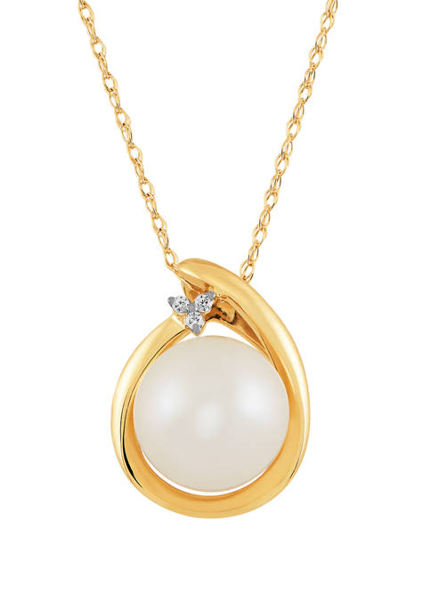 1/10 ct. t.w. Diamond and 3.25 ct. t.w. Freshwater Pearl Pendant Necklace in 10K Yellow Gold