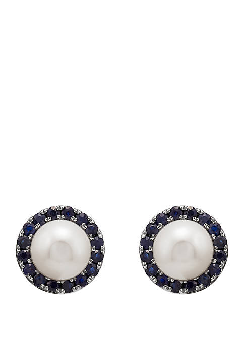 5.5 ct. t.w. Freshwater Pearl with 0.74 ct. t.w. Sapphire Earrings in 10k White Gold