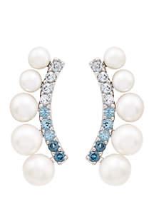 Belk & Co. 8.96 ct. Fresh Water Pearls with 0.86 ct. t.w. Blue Topaz Earrings in Sterling Silver