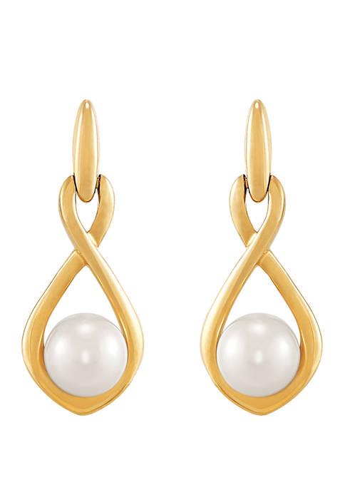 2 ct. t.w. Freshwater Pearl Earrings in 10K Yellow Gold