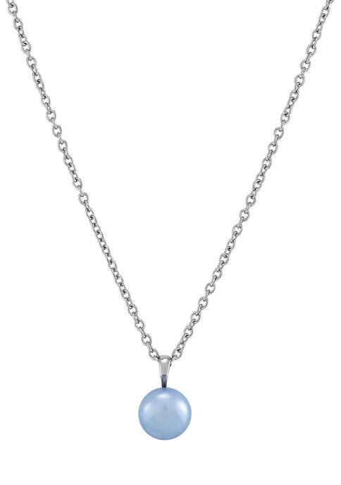 Freshwater Pearl Pendant Necklace in Stainless Steel