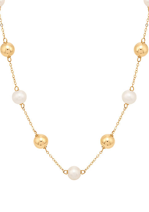 19.25 ct. Freshwater Pearl Necklace with Beads in 10K Yellow Gold