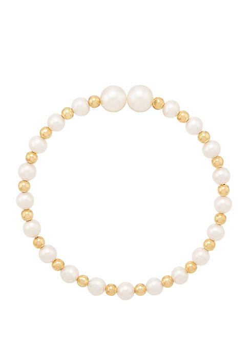 Freshwater Pearl Cuff Bracelet in 10K Yellow Gold