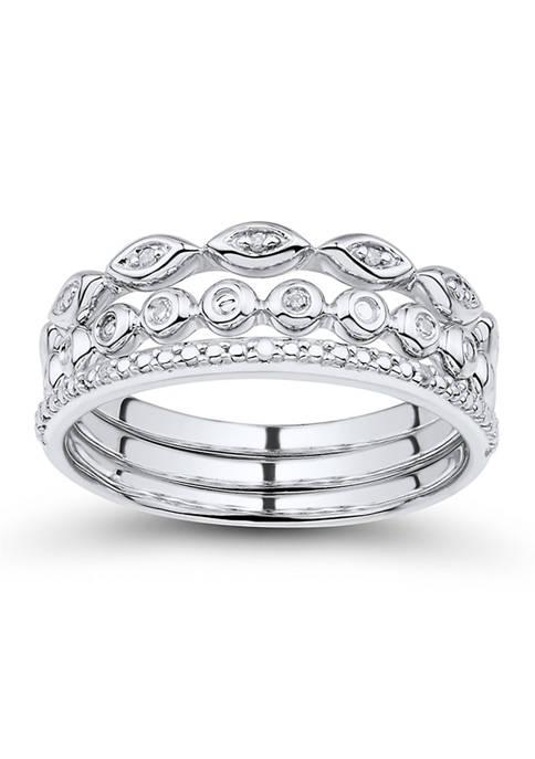 Accent Diamond Ring Set in 10K White Gold