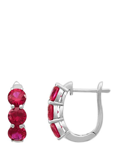 Belk & Co. Created Ruby Hoop Earrings in