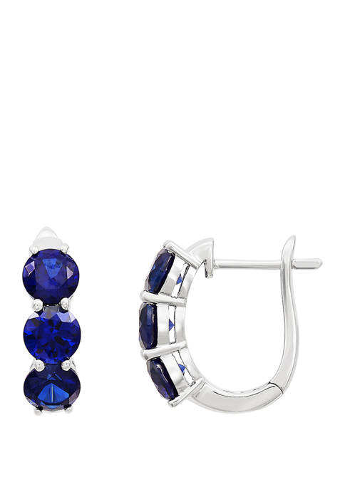 Created Sapphire Hoop Earring in Sterling Silver