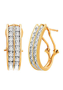 1/2 ct. t.w Diamond Double Hoop Channel Earrings in 10K Yellow Gold