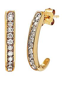 1/4 ct. t.w. Hoop Diamond Earrings in 10K Gold