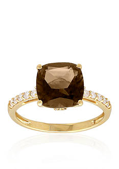 Belk & Co. Smokey Quartz and Diamond Ring in 10k Yellow Gold