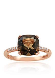 Smokey Quartz and Diamond Ring in 10K Rose Gold