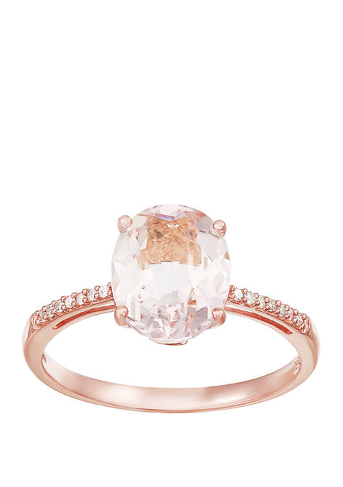 2.4 ct. t.w. Morganite and 1/10 ct. t.w. Diamond Ring in 10K Rose Gold