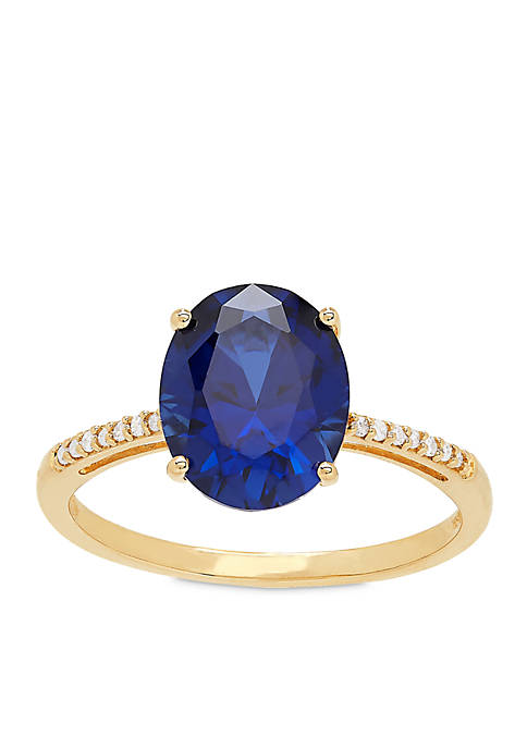 3.40 ct. t.w. Created Sapphire and Diamond Oval Ring in 10K Gold