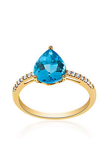 Blue Topaz and Diamond Ring in 10k Yellow Gold