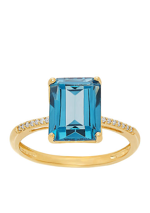 0.042 ct. t.w. Diamond and London Blue Topaz Ring in 10k Yellow Gold