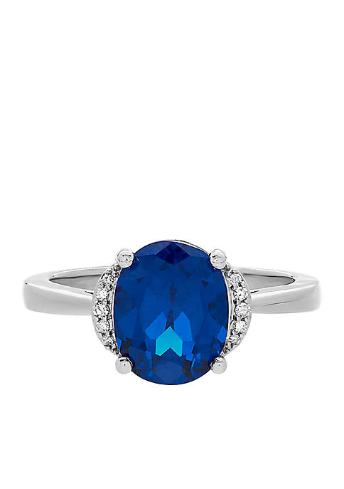 3.4 ct. t.w. Created Sapphire and Diamond Ring in 10k White Gold