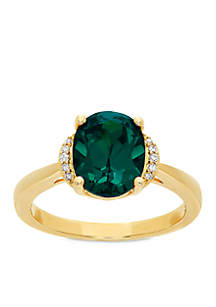 2.6 ct. t.w. Created Emerald and Diamond Oval Ring in 10K Yellow Gold