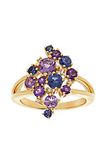 Mini Color Cluster Ring in 10k Yellow Gold