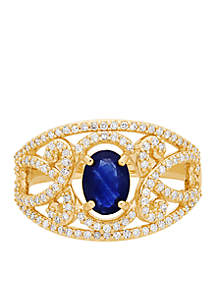 3/8 ct. t.w. Diamond and Oval Sapphire Ring in 10k Yellow Gold