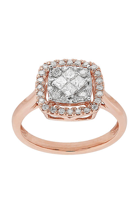 1/2 ct. t.w. Diamonds Halo Ring in 10k Rose Gold