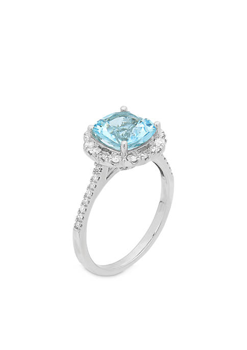 10K White Gold Aquamarine Diamond Engagement Ring