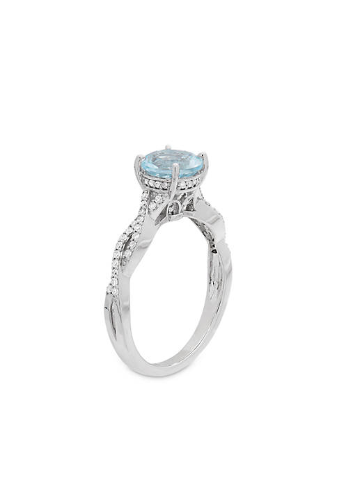 Belk & Co. 10K White Gold Aquamarine Diamond